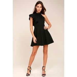 *NEW* LULU'S Black One-Shoulder Skater Dress